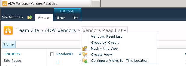 Vendors read list